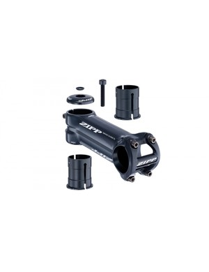 The new Zipp Service Course SL-OS stem offers an angle-adjust shim for use with standard 1 1/8in steerer tubes, while removing the shim will open compatibility with 1 1/4in steerers, such as those on newer OD2 equipped Giant bikes