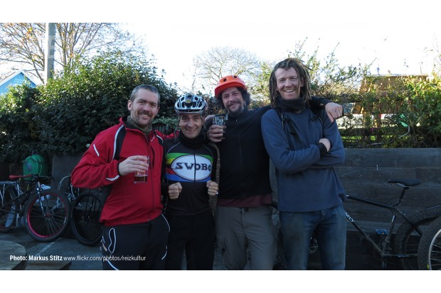 Our Matt (in the red) enjoying a well deserved pint - an essential element to a solid day riding, Fat Bike or no Fat Bike