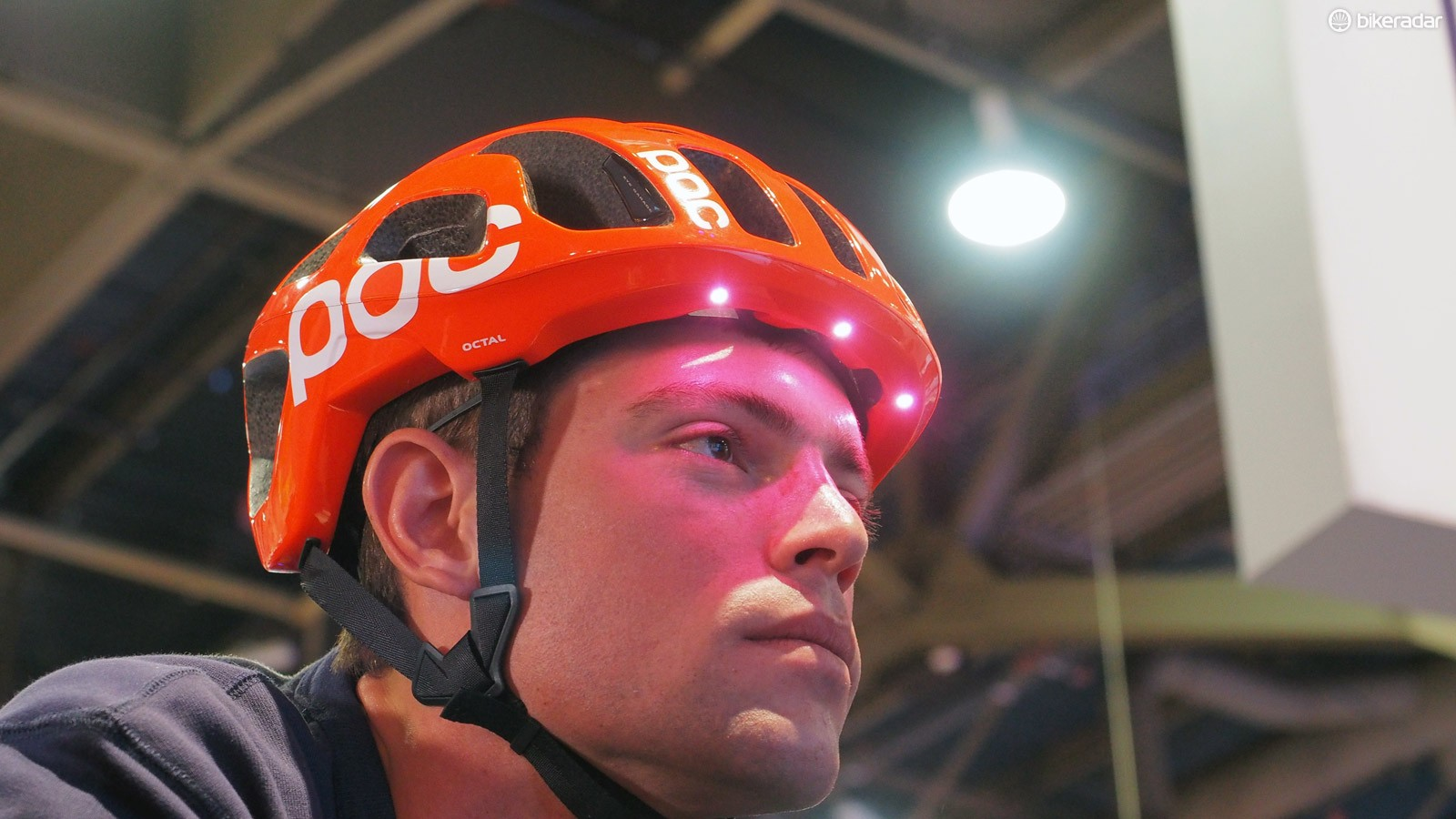 For the cyclist, embedded LEDs and vibration pads inside the specially equipped helmet would warn of an impending collision, such as from hidden cross street traffic
