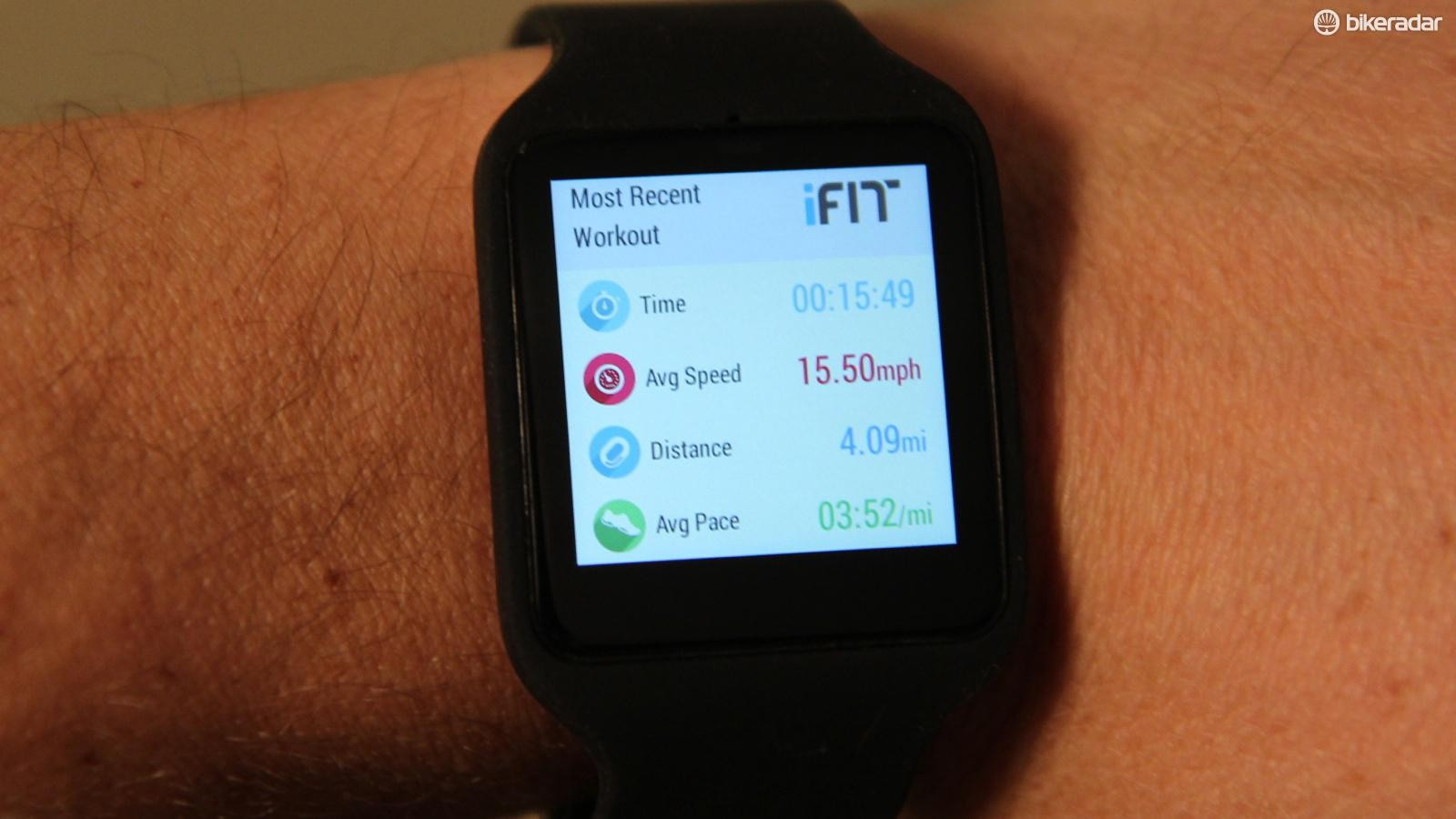 Using the Sony SmartWatch 3's built-in GPS, iFit operates as a very basic running watch