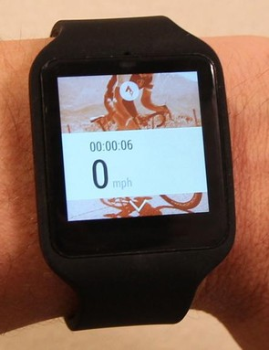 When paired with an Android phone that has Strava installed, the Sony SmartWatch 3 can act as a remote, starting and stopping your Strava ride, and giving the basic time and speed counters shown here