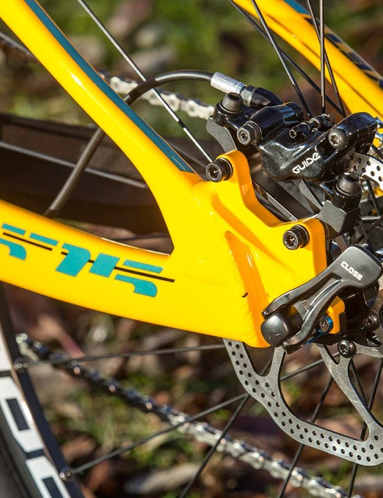 The the tapered alloy seatstays are designed to flex