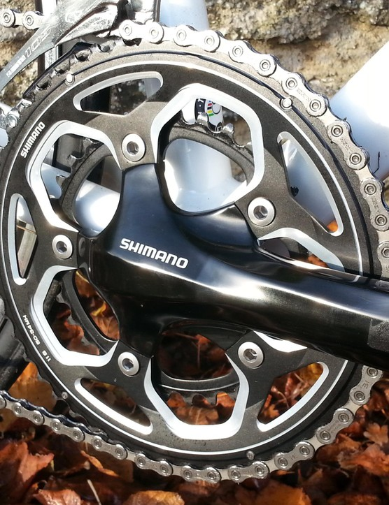 The Shimano RS500 crankset is a solid performer, though not as pretty as the new four-bolt designs