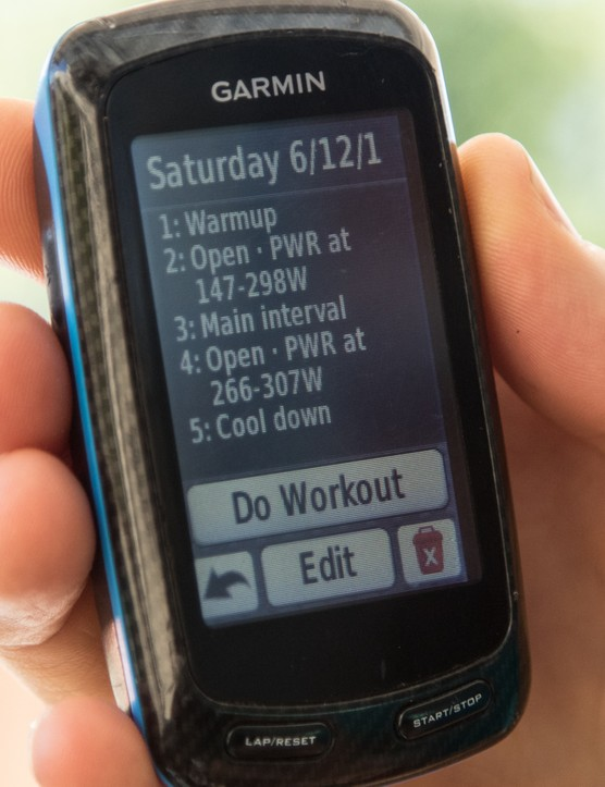 An example of a Today's Plan training ride automatically uploaded onto a Garmin Edge 510