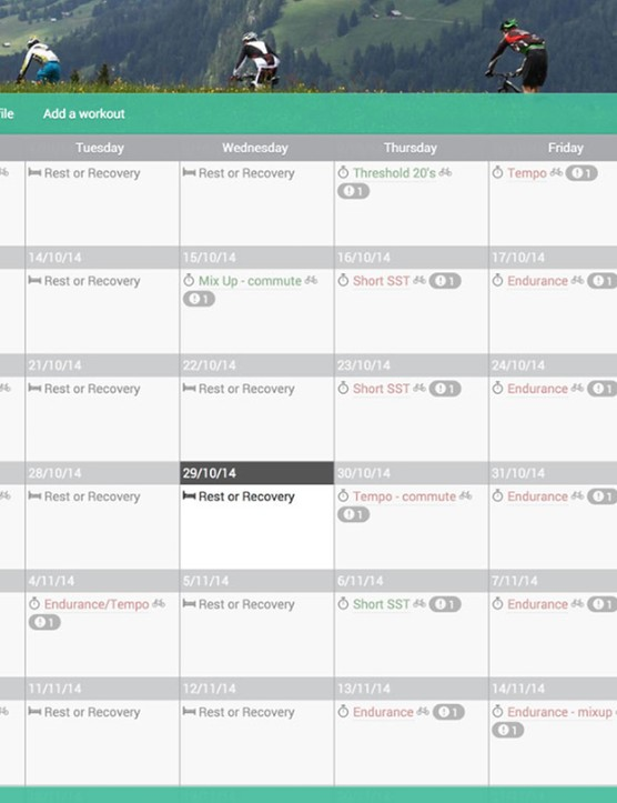 Your generated training plan will look something like this within the Today's Plan calendar