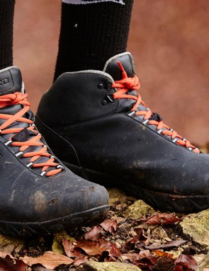 The Giro Alpineduro boots combine hiking boot styling with an SPD sole