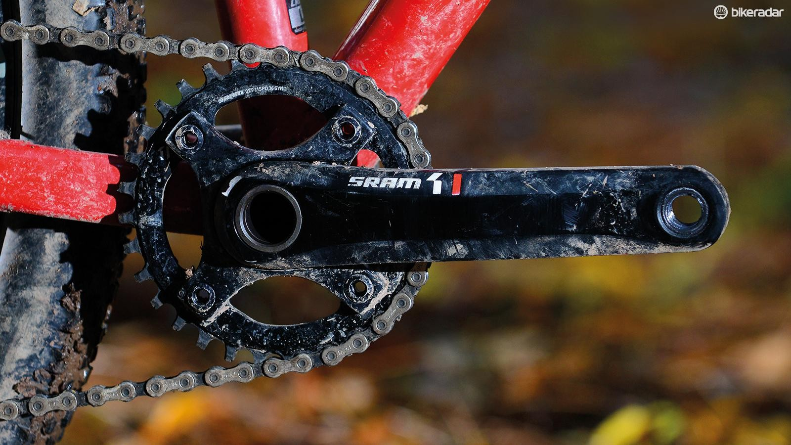 Alloy SRAM X1 crank arms carry a 44g weight penalty but are cheaper and stiffer than carbon