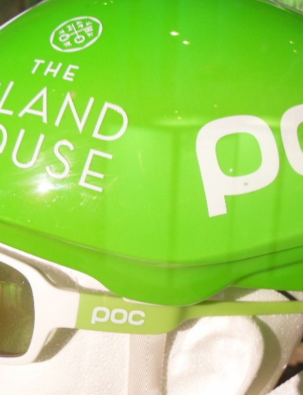 The POC Octal Aero road helmet also gets the Cannondale-green treatment