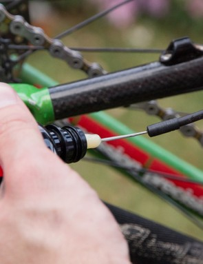 Unclipping the cables from the frame allows you to inspect for cable wear and lube the cables too