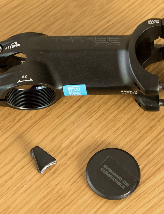 An external headset adjust system keeps the steerer tube free for a Di2 battery and wires