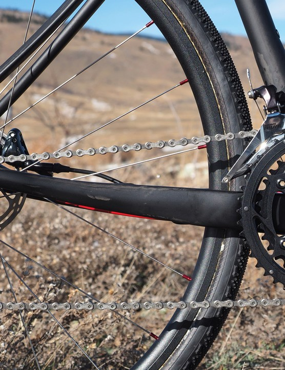 The slightly dropped chainstay reduces chain slap a bit