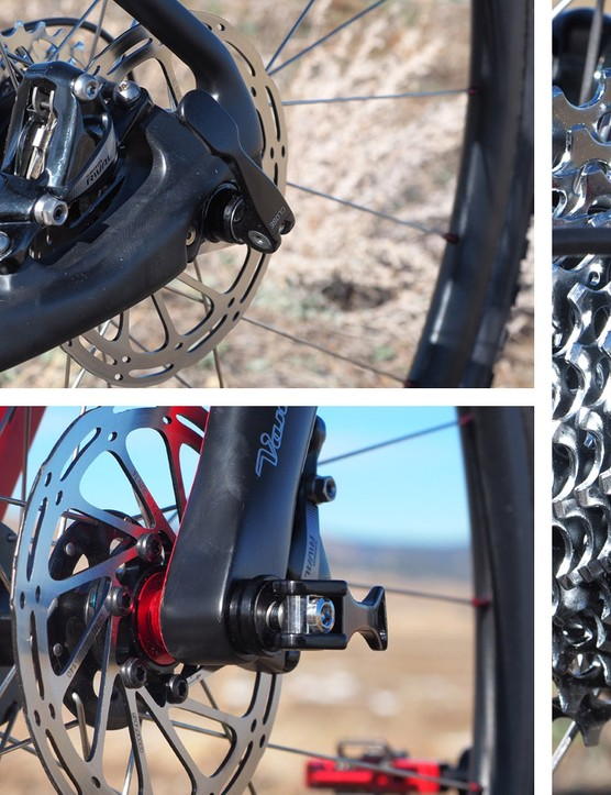 Van Dessel ships the Full Tilt Boogie with dedicated thru-axle or open dropout forks but the rear dropouts are convertible just by swapping the bolt-in alloy plates
