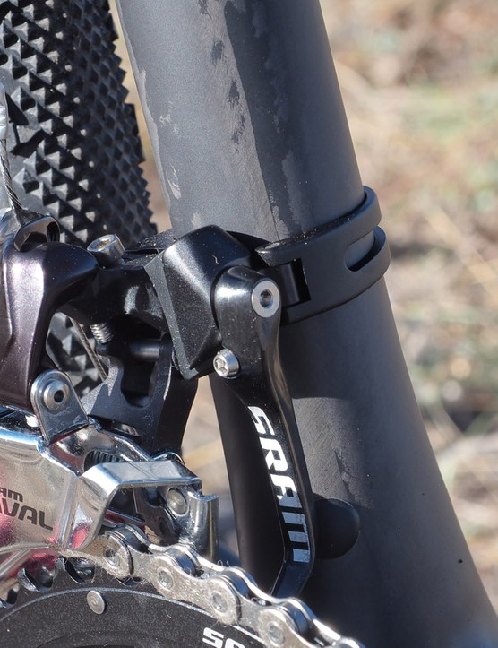 The clamp-on front derailleur makes for a clean setup if you decide to run a 1x drivetrain