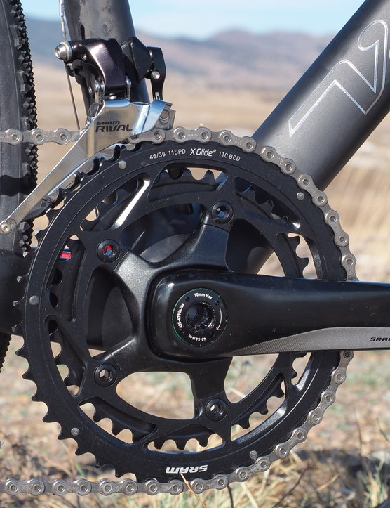 The solid-forged SRAM Rival crankset is heavy but shifts quite well