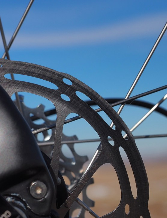 SRAM's latest CenterLine rotors run quietly. The new vent pattern is supposedly easier on pads in muddy conditions, too