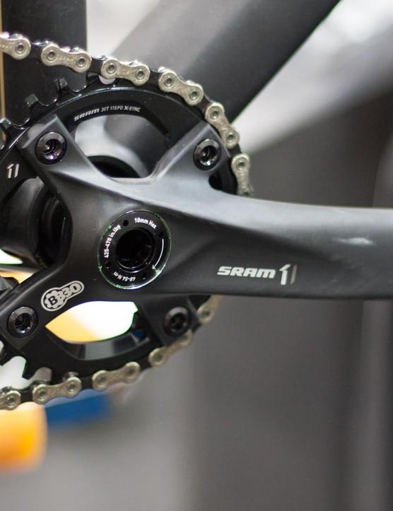 SRAM X1 BB30 chainset is housed within a press-fit bottom bracket shell