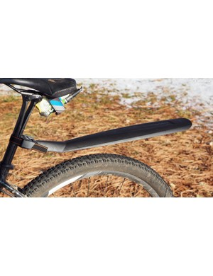 The new SKS X-tra Dry XL rear fender offers lots of extra width and length to block spray