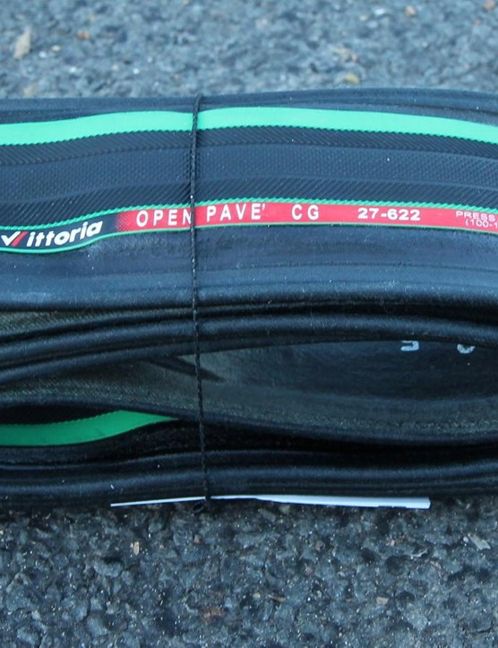 Vittoria's Open Pave CG III comes in all black as well as Vittoria's signature black-and-green