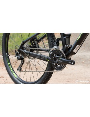 The drivetrain is basic, but with 30-speed and a clutch-equipped rear derailleur there's likely little to complain of