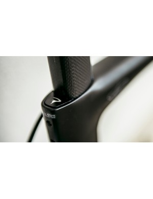 The aero seatpost is kept secure with a wedge at the rear