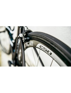 The Dura-Ace C50 wheels are wrapped in Veloflex tubs