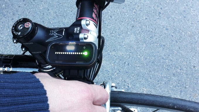 The Backtracker shows vehicles approaching from behind a cyclist in the form of flashing LEDs