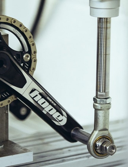 Hope crankset being put through its paces on a test bed