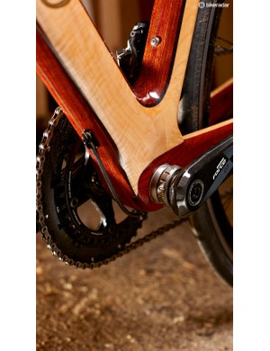 A sizeable chunk of timber imparts considerable bottom bracket stiffness