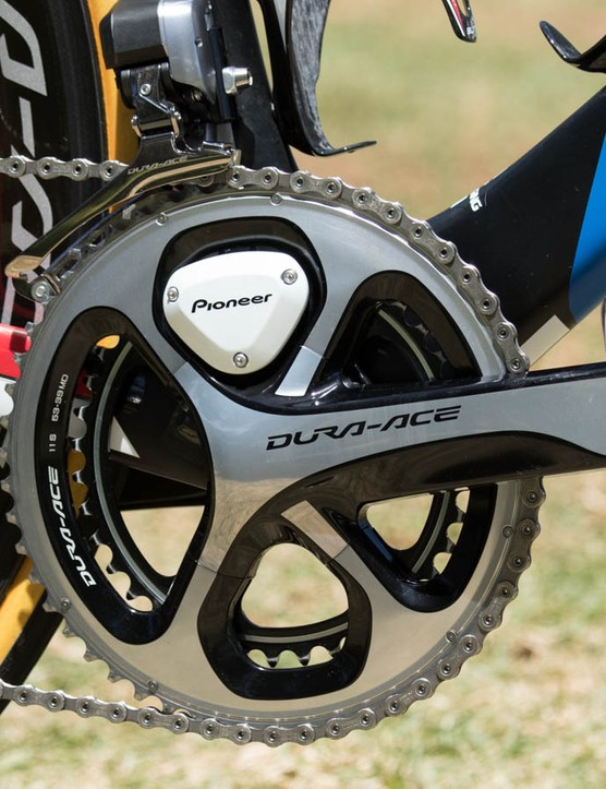 Bonded to a Shimano Dura-Ace crank, the Pioneer Power meter offers independent left-to-right power measurement, among many other data metrics