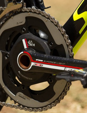 Tinkoff-Saxo uses a FSA K-Force Light SRM with SRAM chainrings. Why? We're not too sure