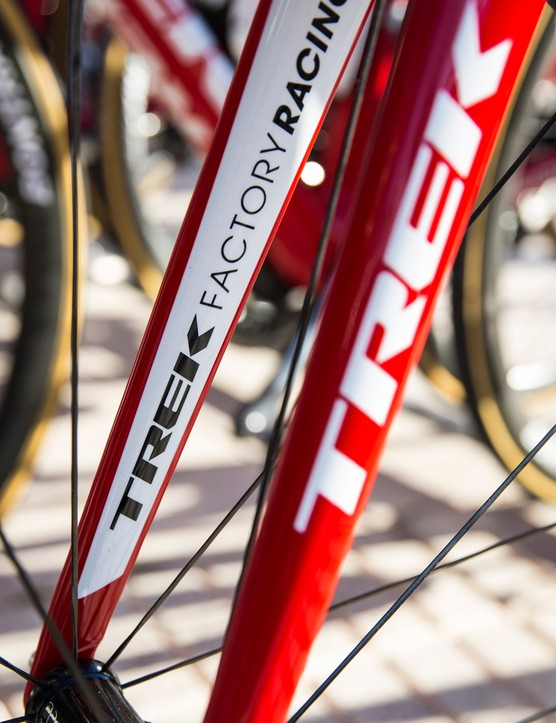 The inside of the fork blade show's the Trek Factory Racing team logo