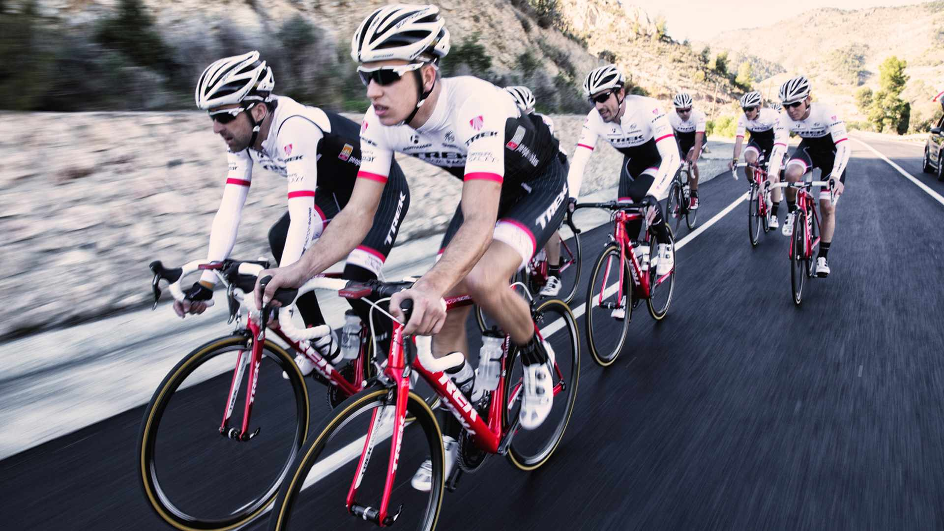 The new Viper Red Trek Factory Racing bikes look great with the red flashes on the team's otherwise black and white race kit