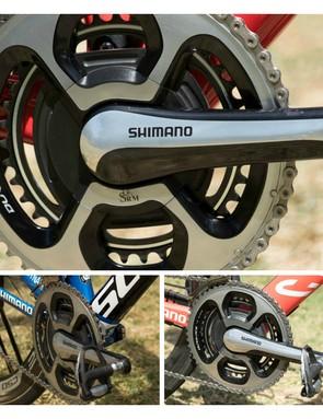 Trek Factory Racing, Katusha, IAM Cycling, Orica-GreenEdge, BMC Racing Team, FDJ.fr are ALL using the SRM Shimano 11-speed power meter (BMC not pictured)