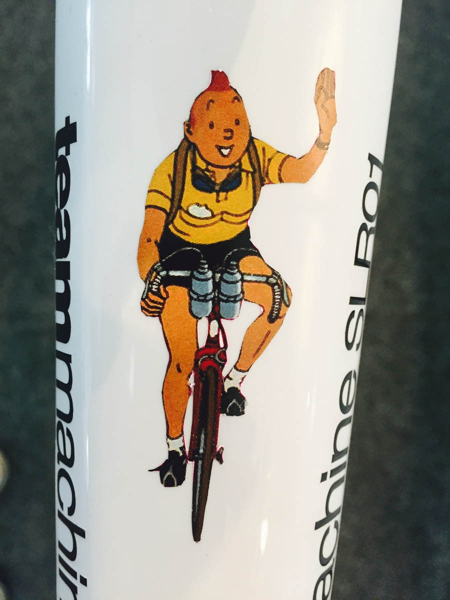 Tintin on the top of Cadel Evans farewell BMC Teammachine SLR01