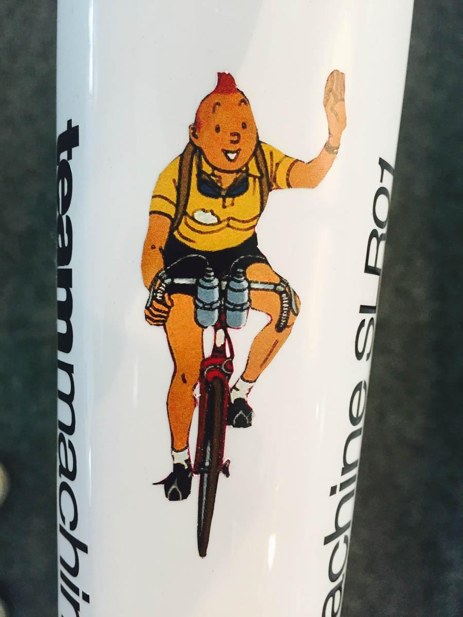 Tintin on the top of Cadel Evans farewell BMC Teammachine SLR01