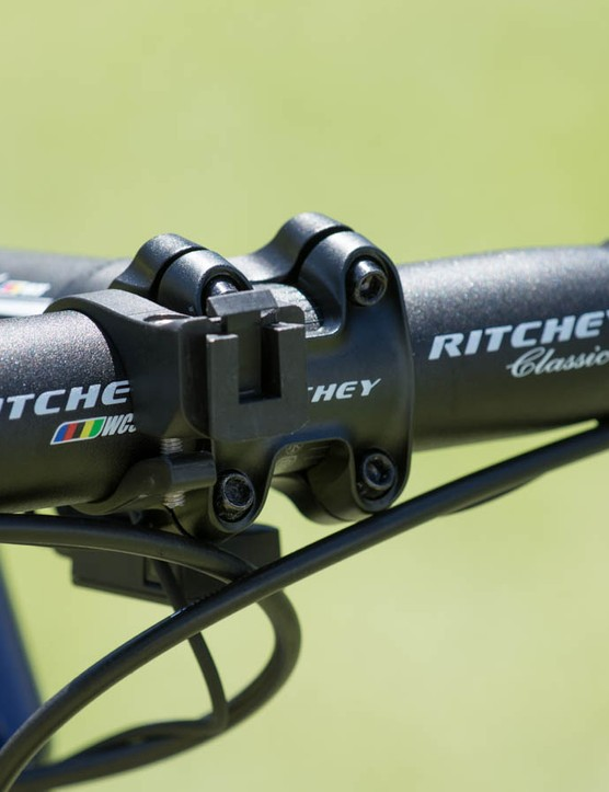 The Ritchey C220 stem wraps 220 degrees around the handlebar before the front faceplate takes over