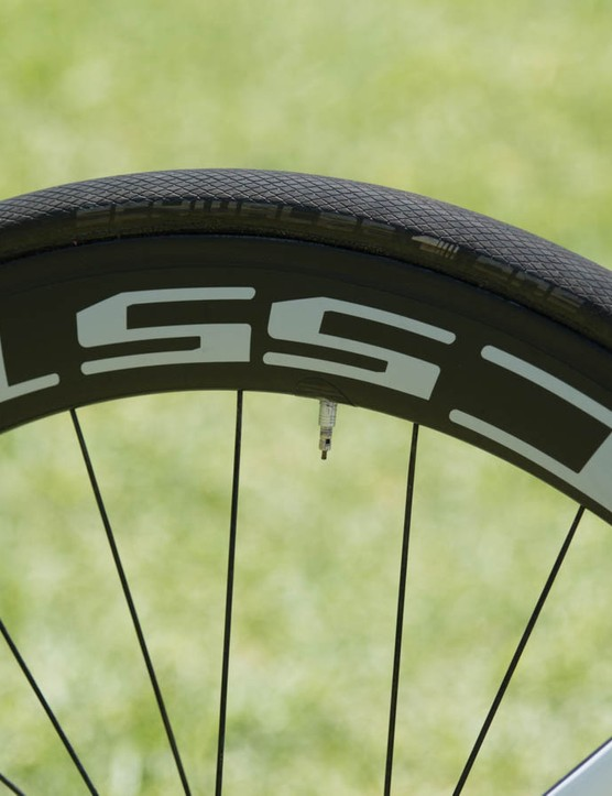 DT Swiss wheels are far less common - Haussler rides on these 55mm deep 'Tricon' tubulars