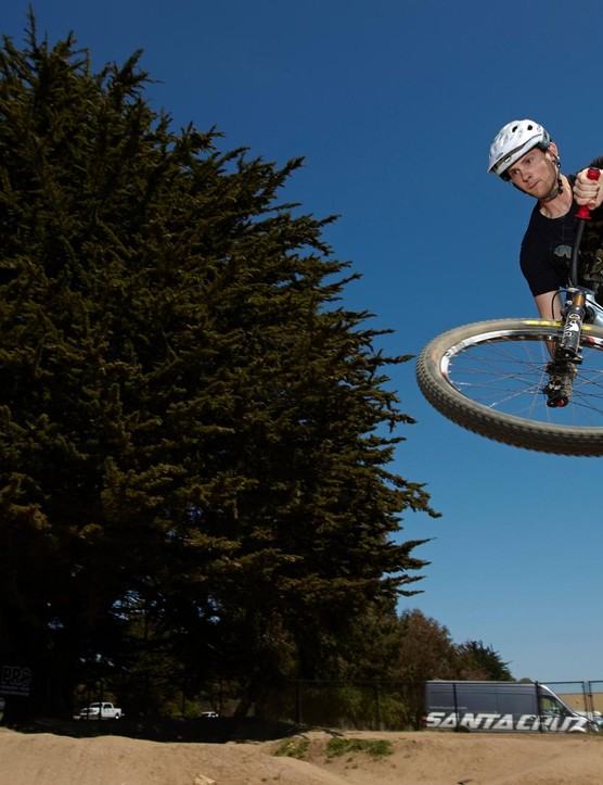Mackinnon gets some air at West Side Pump Track in Santa Cruz