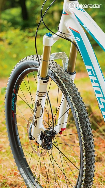 The 130mm Fox fork and rear shock lap up rocky terrain