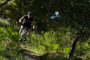 Joel Smith riding an Ibis mountain bike in the hills around Santa Cruz, California.