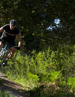 Joel Smith riding an Ibis mountain bike in the hills around Santa Cruz, California.