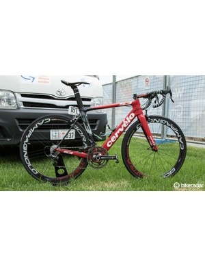 Jack Bobridge's Cervelo S3, briefly at rest during the 2015 Tour Down Under