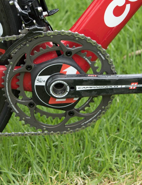 The SRM Campagnolo 11-speed crank adds plenty of expense to this build