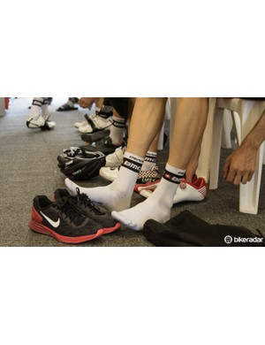 BMC Racing Team is one example where riders each have individual shoe sponsors
