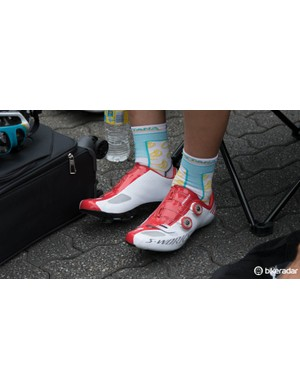 Astana in Specialized S-Works shoes - these feature a new 'Boa S2 Snap' dial that is exclusive to Specialized