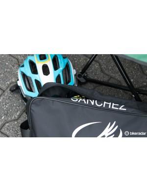 The Astana gear bag of Luis Leon Sanchez hides a gold pair of Oakley Radarlock glasses