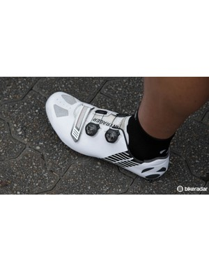 Trek Factory Racing look well coordinated with matching Bontrager XXX Road shoes. These were first seen on Frank Schlek at last year's Tour Down Under