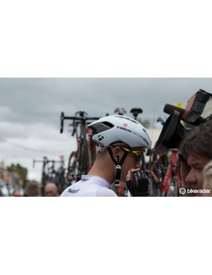 Another view of Bontrager's hush-hush aero road helmet