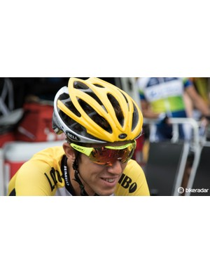 New Zealand's George Bennett of the Lotto NL - Jumbo team wearing the Bell Gage team helmet and a pair of Rudy Project sunglasses