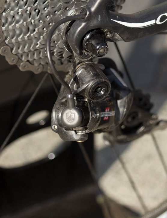 Not one you want caught up in a crash, the Campagnolo Super Record EPS is the most expensive production derailleur on the market
